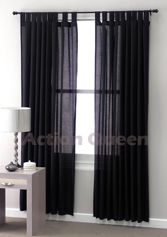 club linen jet black sheer curtains tab 180 x 2 x 213cm ebay