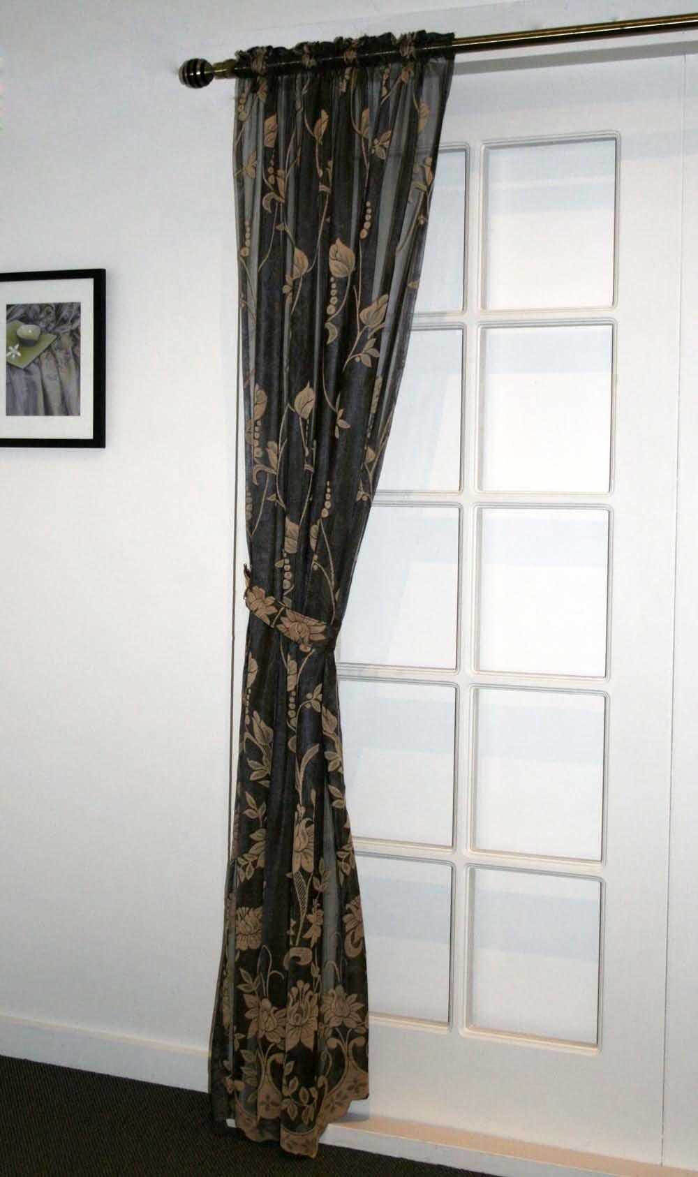 details about black gold curtain sheer lace 120cm x2 213cm drop