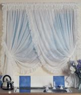 Fairlight Crossover Voile Curtain CREAM 220x183cm Shabby Chic