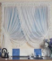 Fairlight Crossover Voile Curtain CREAM 220x183cm Shabby Chic