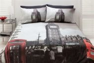 London QUEEN Quilt Doona Cover Set UK Big Ben United Kingdom + Linen House Euros PAIR 65x65cm Loch Charcoal