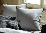 LINEN HOUSE Pair European Pillowcases LOCH charcoal 65x65cm cotton