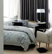Queen Bed Quilt Cover Set Alessandro Silver Grey