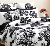 DECO Black and White Double Quilt Cover Set ANNABELLE with Euros