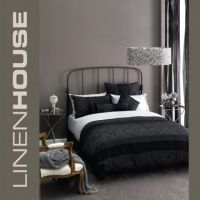 Linen House Armande DOUBLE Doona Cover Set gorgeous 300 TC MULTI TEXTURED BLACK