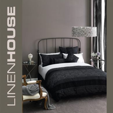 Linen House Armande QUEEN Doona Cover Set gorgeous 300 TC MULTI TEXTURED + EUROS Black