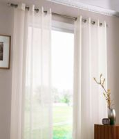SHEER VOILE AURA EYELET CURTAINS 2X120X221cm WHITE