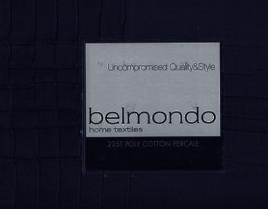 Belmondo Navy blue Pintuck Queen Bed Quilt Doona Cover Set 225TC cotton percale