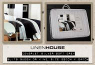 LINEN HOUSE coverlet BLACKROCK SILVER QUEEN OR KING New