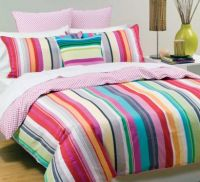 LINEN HOUSE Queen Bed Quilt Cover Set Cabaret Pink Mulit Bright Stripes Cotton Bedding