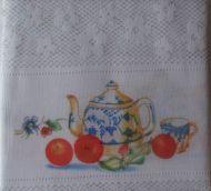 Lace Cafe Kitchen Curtain 2 piece TEA POT New