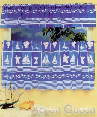 CAFE KITCHEN CURTAIN 200X60 NAUTICAL DESIGN New