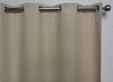 HARLOW Eyelet Blockout Ready Made Curtain 1x240x221cm Cashew Cream Soft Drape