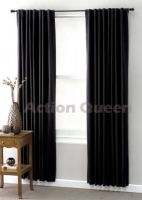 CLUB LINEN Jet Black BLOCKOUT curtains 180 x 2 x 213cm