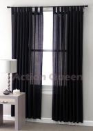 CLUB LINEN Jet Black SHEER curtains 180x2x213cm suitable for halloween party