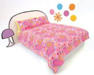 HAPPY HOUSE PINK QUEEN QUILT COVER SET CONFETTI LOVE and Flower Cushion