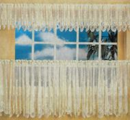 Country Cottage Cafe Curtain 460cm wide x 90cm drop ECRU Lace kitchen