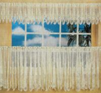 Country Cottage Cafe Curtain 460cm wide x 90cm drop WHITE Lace kitchen