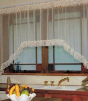 Lace Curtain Jardiniere Cafe WHITE 225x137cm Shabby Chic
