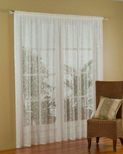 Lace Curtain 4m X 213cm White Laura Design Floral Flower