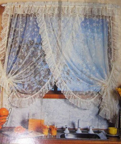 Simone Cross Over Floral Lace Readymade Curtain Fits up to 137cm wide x 107 ECRU Cream with tie backs High Quality Made in Australia