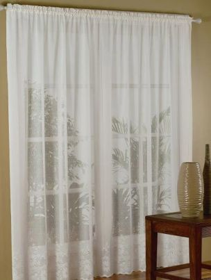 LACE CURTAINS 6M x 213cm WHITE WILDFLOWER DESIGN ROD POCKET Almost sold out