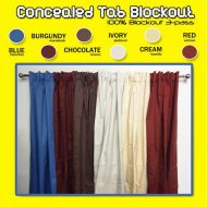 Ready made blockout curtains Concealed Tab Top Pair Blue Burgundy Chocolate Ivory Cream Red - colours
