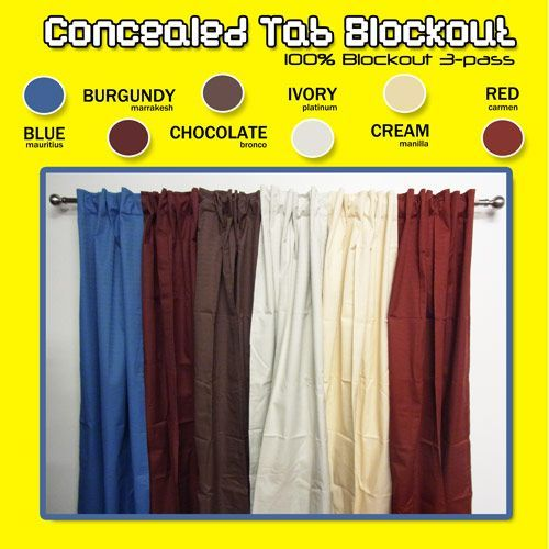 Concealed Tab Top Blockout Curtains