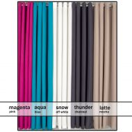 Eyelet Decorator Curtains 2x145x221cm Magenta Aqua Charcoal Snow Latte