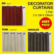 ATHERTON - EYELET CURTAINS PAIR 2X130x230cm drop RED PEARL or CHOCOLATE