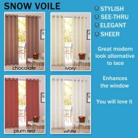 Snow Voile Eyelet Curtains 2x140x220cm pair white ivory red chocolate Sheer Pair