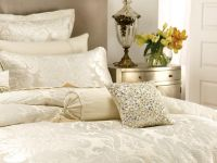 Linen House Cushion Cover Classic Collection HAMPSTEAD IVORY with beading jewels 30x30cm