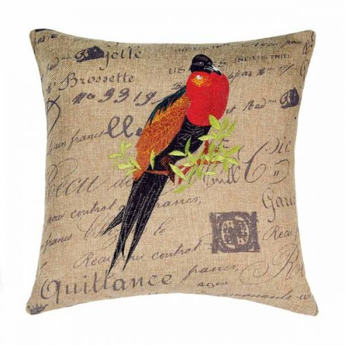 Linen House Napolean Bedroom Cushion Cover 43x43cm Bird Script