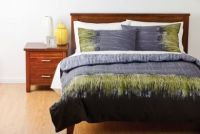 DECO CARTEL Queen Bed Quilt Cover Set Charcoal Grey Green Black