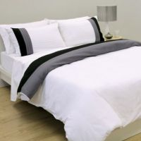 Quilt Cover Set Polyester Cotton Park Lane White Black