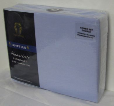 Egyptian Cotton Flannelette Combo Set Double BLUE New