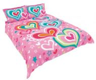HAPPY HOUSE PINK QUEEN QUILT COVER SET FUNKY TOWN and Heart Cushion