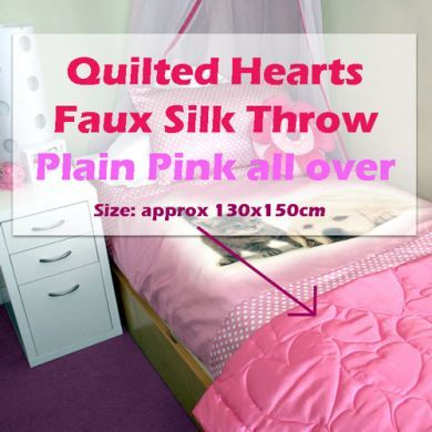 QUILTED HEARTS pink FAUX SILK throw 130x150cm NEW