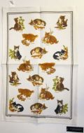 ULSTER WEAVERS Linen Tea Towel HERB KITTEN 51x75cm NEW