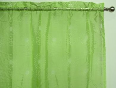 Green Sheer Rod Pocket Curtain 1x140x213cm Ibiza Flower design - Great for girls room