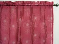 Pink Sheer Rod Pocket Curtain 1x140x213cm Ibiza Flower design - Great for girls room