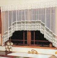 Libby Lace Jardiniere Cafe Curtain ECRU IVORY Before gathering 225x137cm Shabby Chic