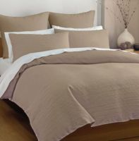 DECO Queen bed quilt cover set LANIER LINEN LATTE SHADE New