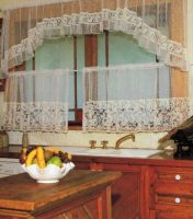 Lace Kitchen Cafe Curtain Loretta 3 piece set ECRU IVORY Top 374x80 Bottom 2x187x69cm