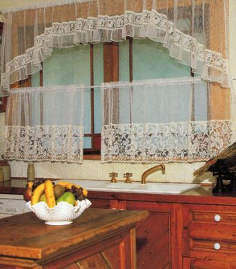 Lace Kitchen Cafe Curtain Loretta 3 piece set ECRU IVORY Top 224x80 Bottom  2x112x69cm