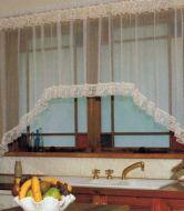 Lace Jardiniere Cafe Curtain CREAM 225x137cm Shabby Chic