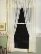 LORETTA Lace Curtain Valance WHITE or CREAM 2x150x213cm Shabby Chic Heritage Style Vintage