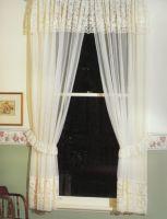 LORETTA Lace Curtain Valance WHITE or CREAM 2x150x213cm Shabby Chic Heritage Style Vintage