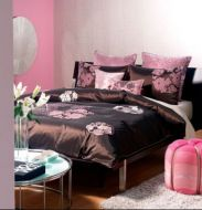 CHOCOLATE DOUBLE BED QUILT COVER SET MICHI EUROS