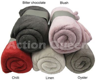 Soft Microplush Throw Rug BLUSH 130x170cm Select your colour